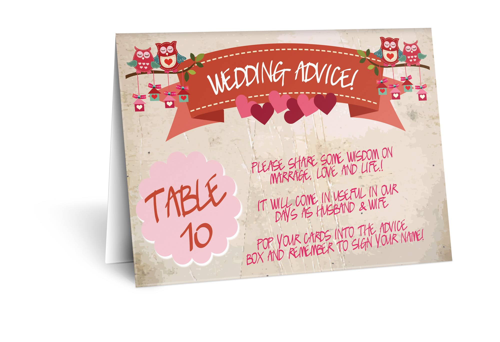 Personalised Table Number Cards