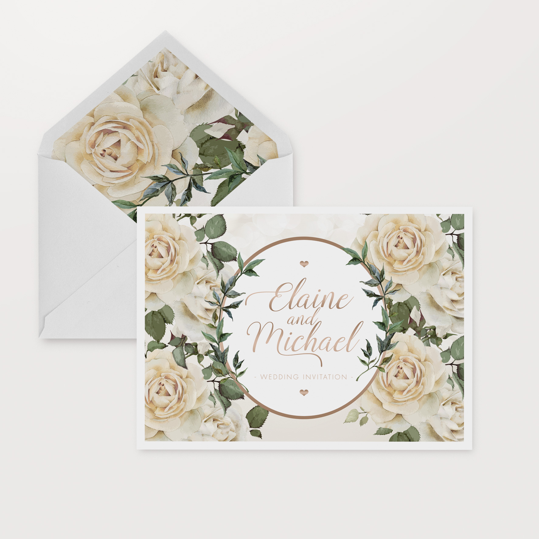 white floral and gold wedding invitations