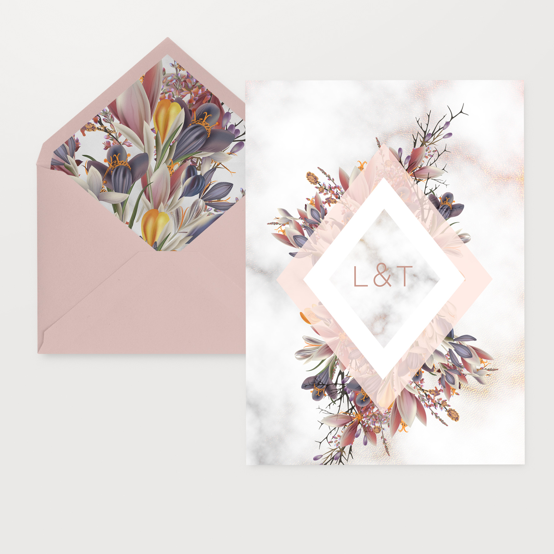 wild flower marble wedding invitations