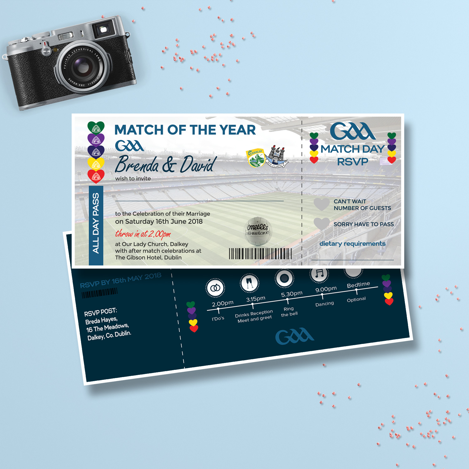 GAA wedding invitation - ticket wedding invitations killarney