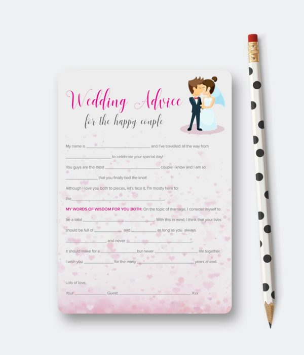 wedding advice cards for the happy couple