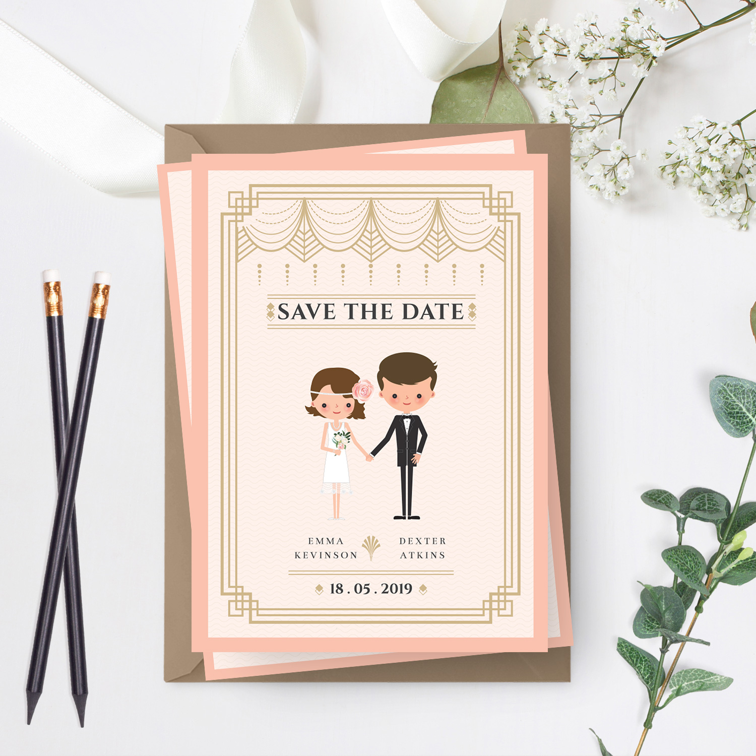 art deco couple wedding invite - cartoon wedding invitations