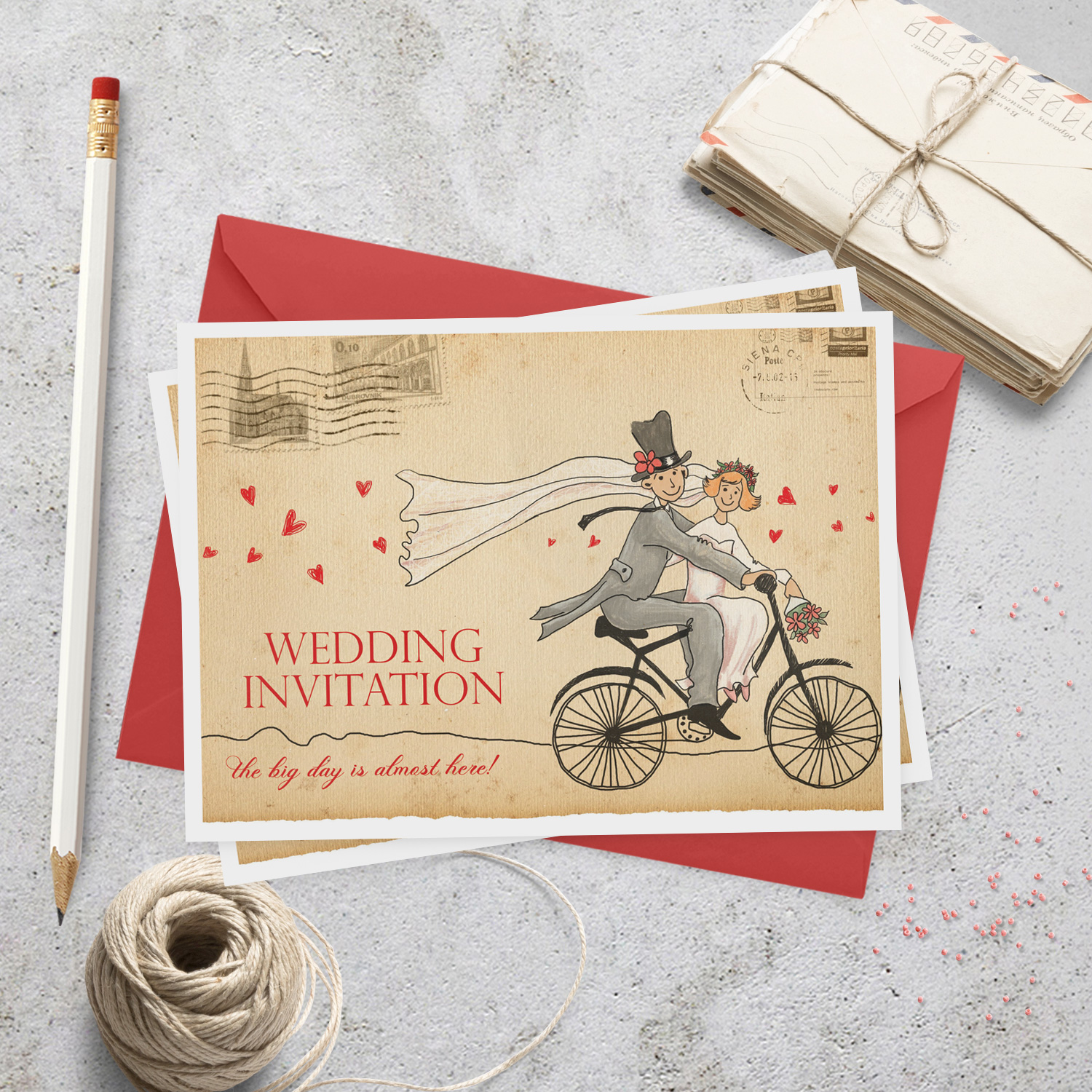 bicycle wedding invite - cartoon wedding invitations - killarney