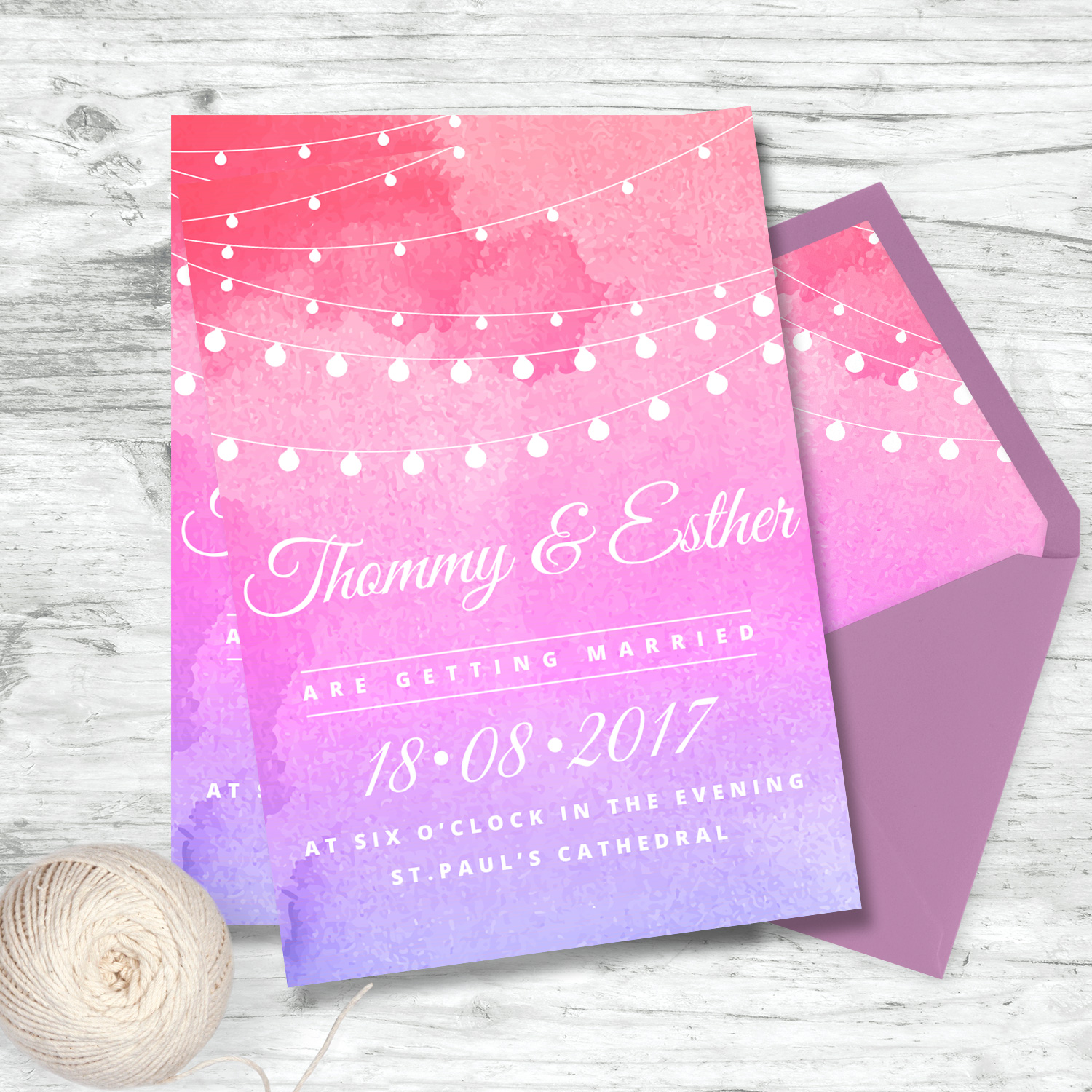 bunting and watercolour wedding invite stationery mass booklets