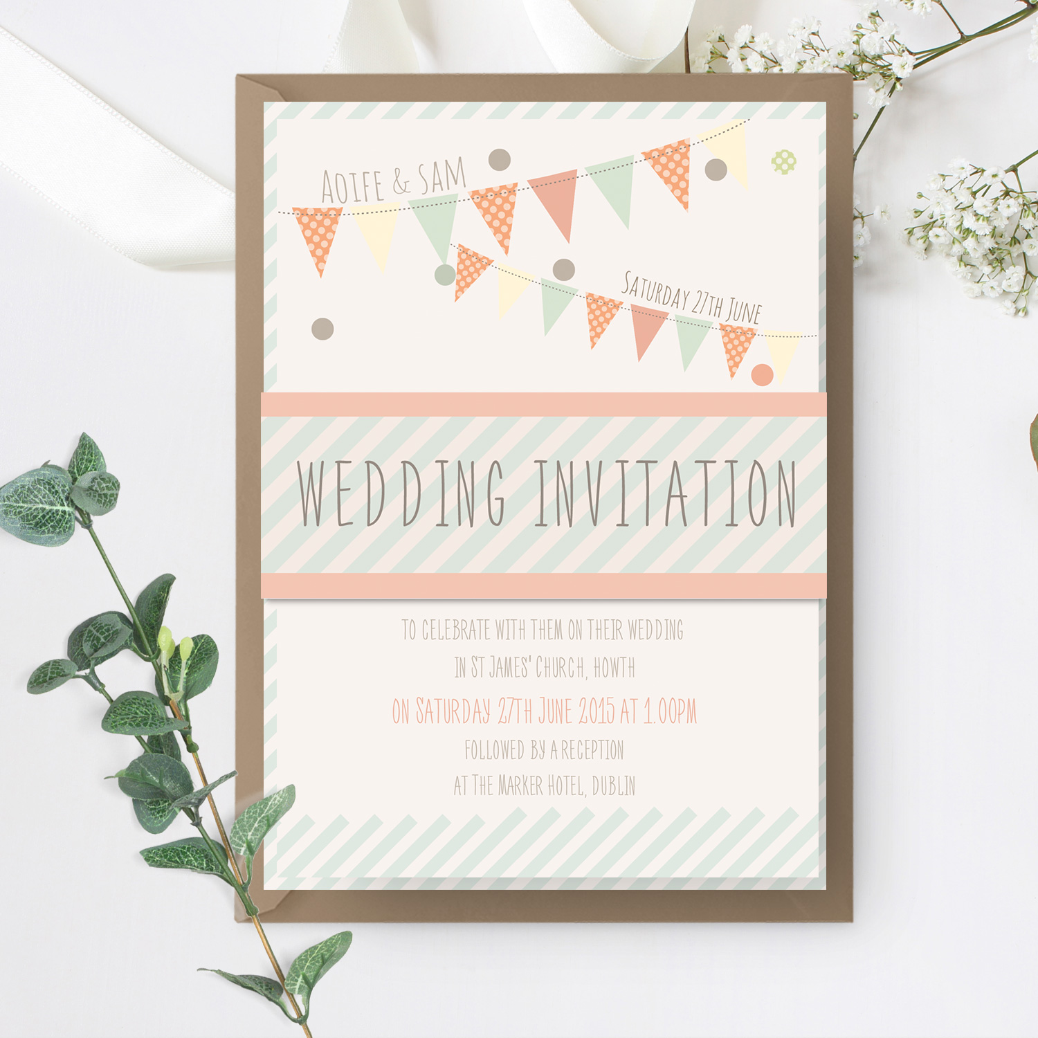 bunting pastel wedding invite stationery mass booklets killarney