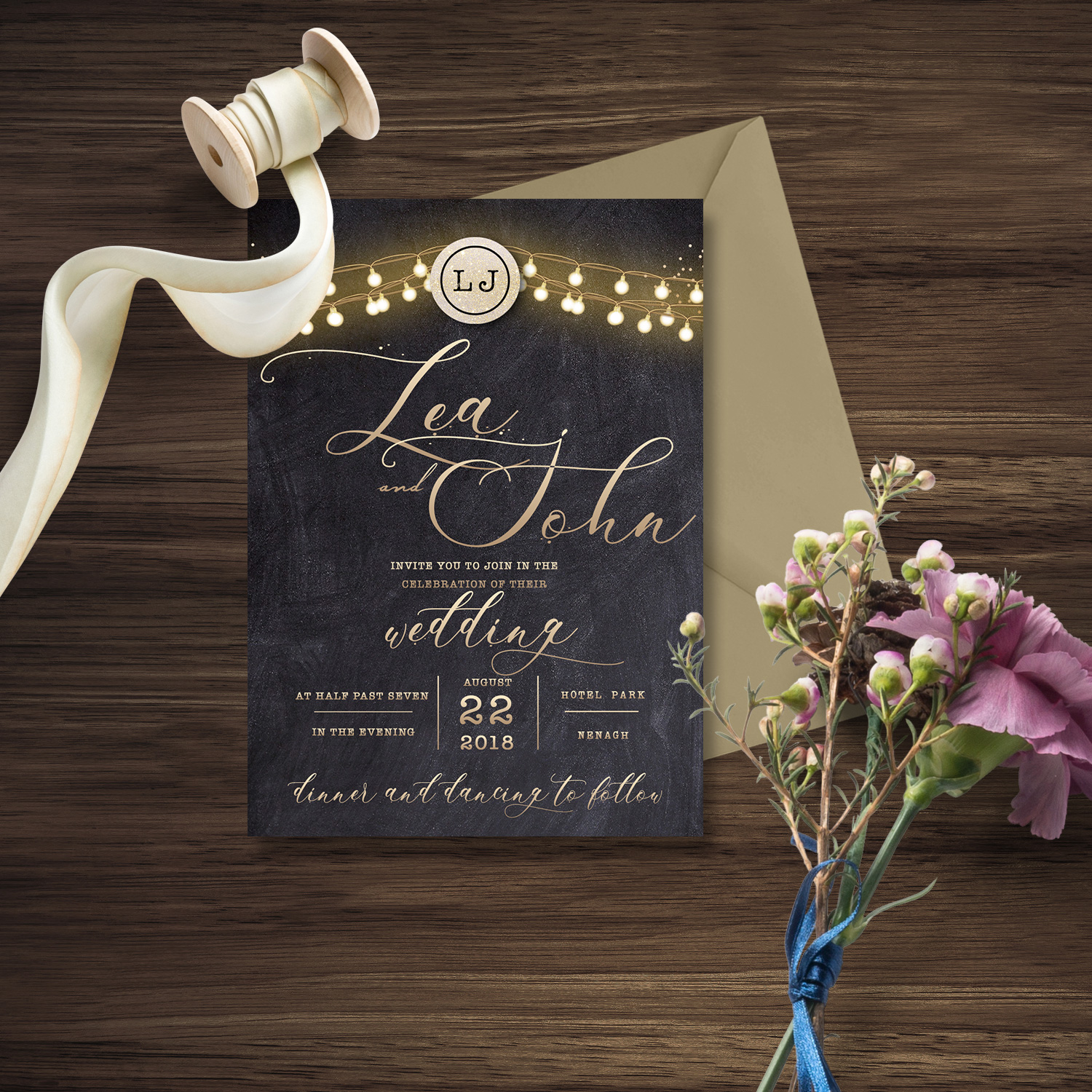 chalkboard and lights wedding invite blakc wedding invite killarney