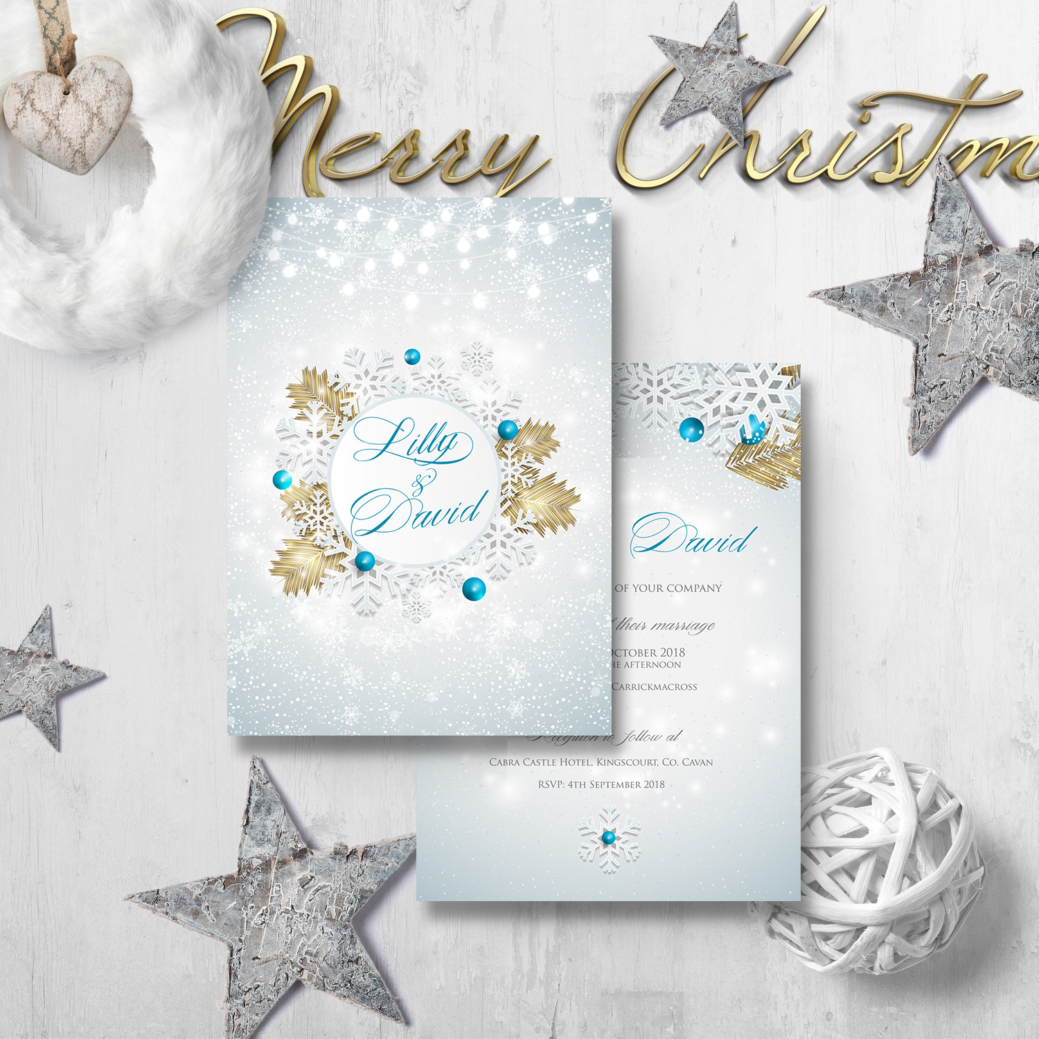 christmas lights wedding invite snow wedding invitations winter killarney