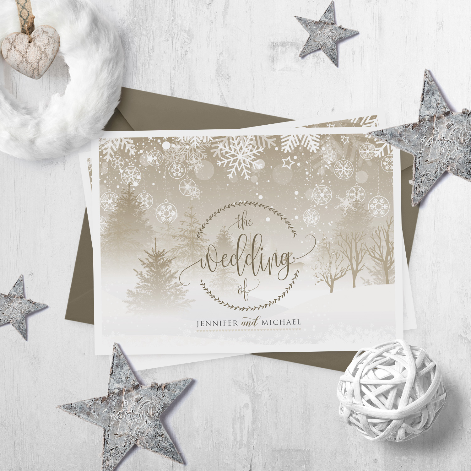 christmas scene wedding invite winter wonderland invitations