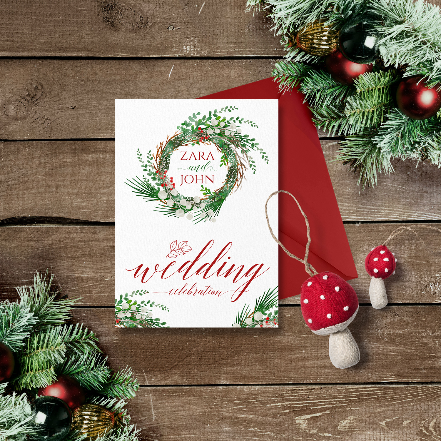 christmas wreath wedding invite winter wedding invitations killarney