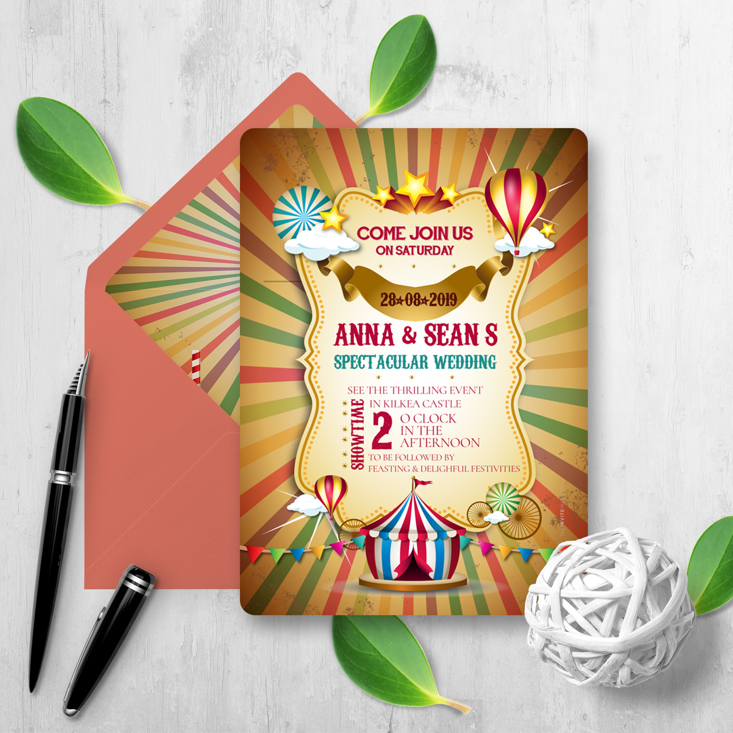 circus wedding invitation