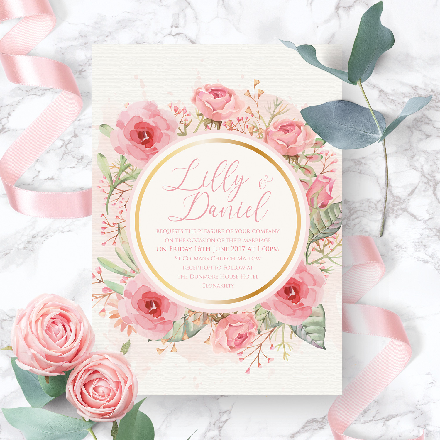 pink floral and gold wedding invitation stationery killarney