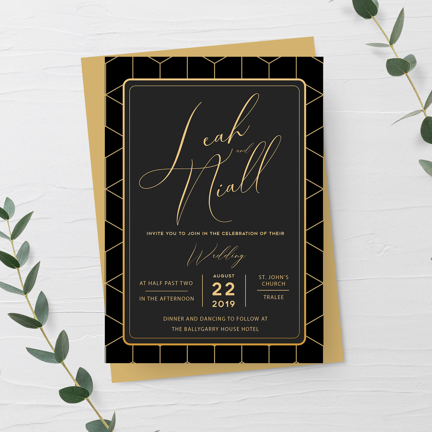 black geometric wedding invitation