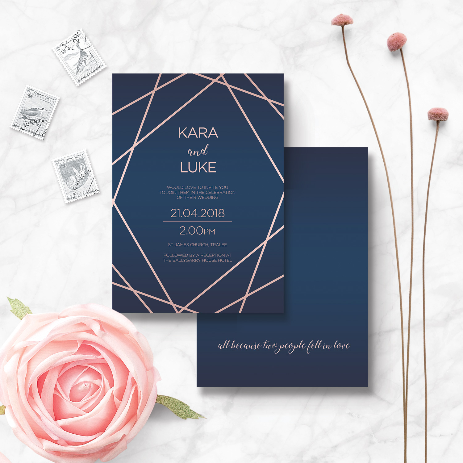 geometric navy and rose gold wedding stationery invitations kerry