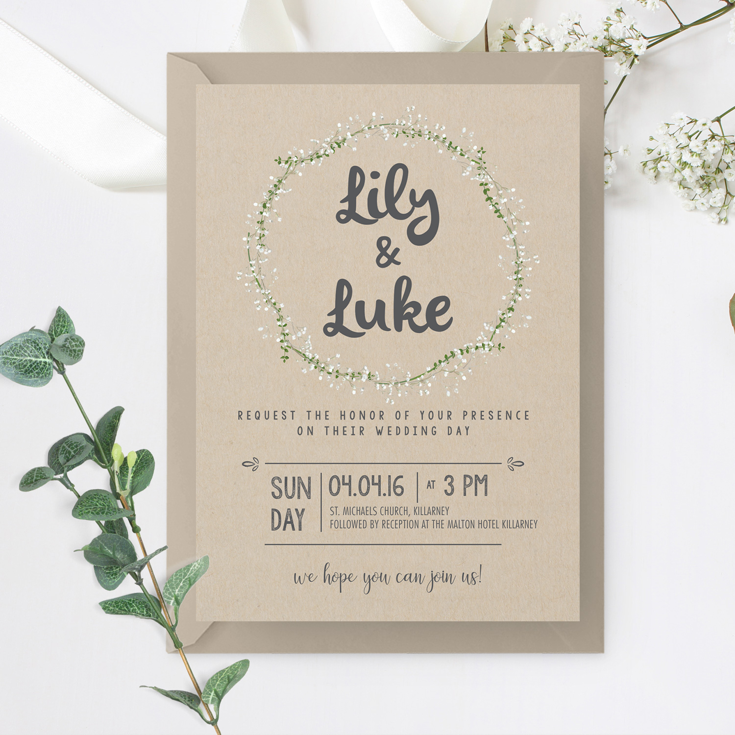 kraft brown wedding invite boho wedding invite killarney