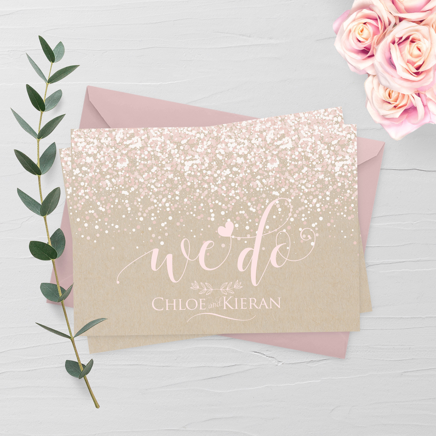 kraft confetti wedding invite the invite hub killarney