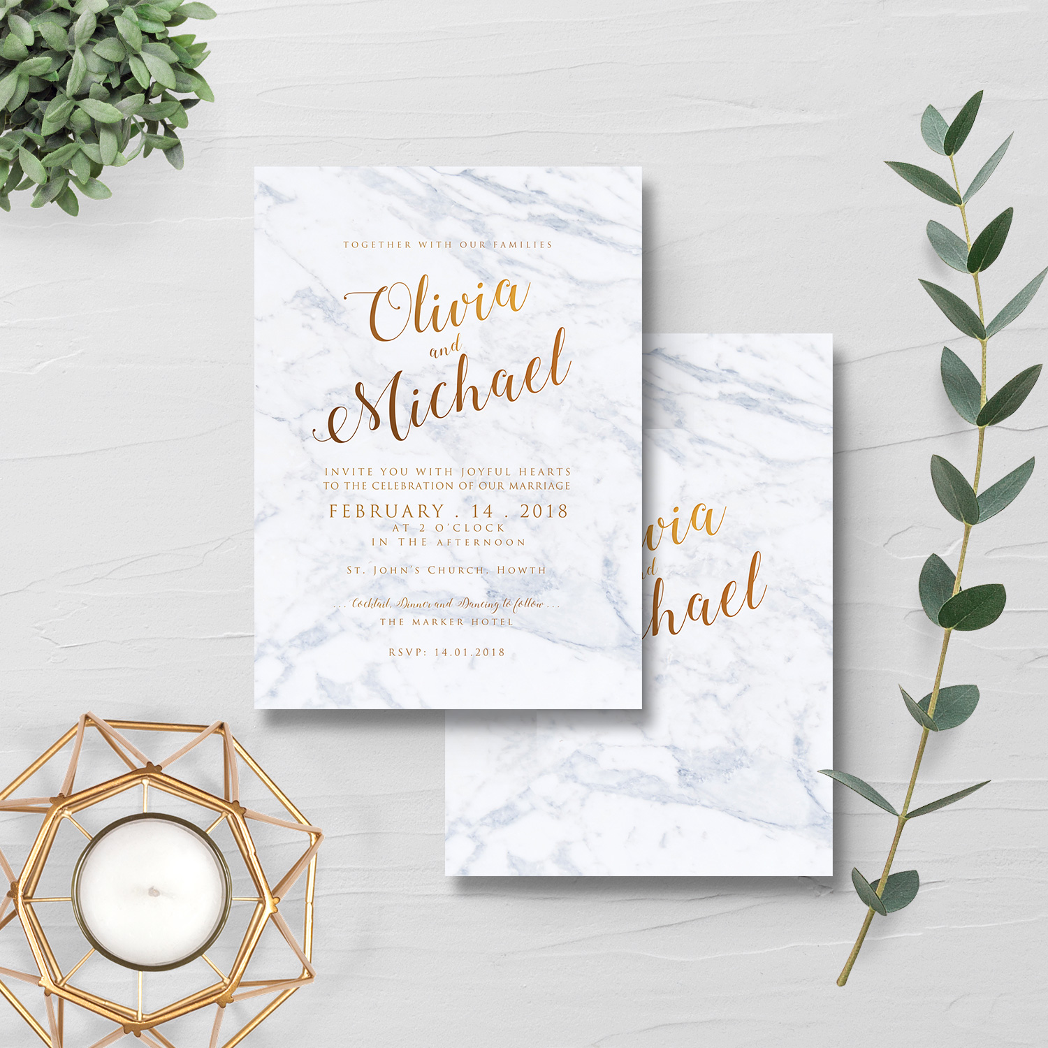 marble and gold wedding invite - simple and elegant wedding invitations