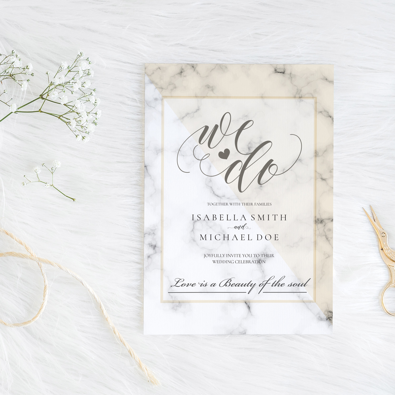 marble wedding invite - simple classy wedding stationery killarney