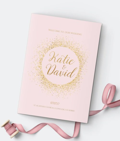 mass sheets pastel pink and gold simple wedding invitations