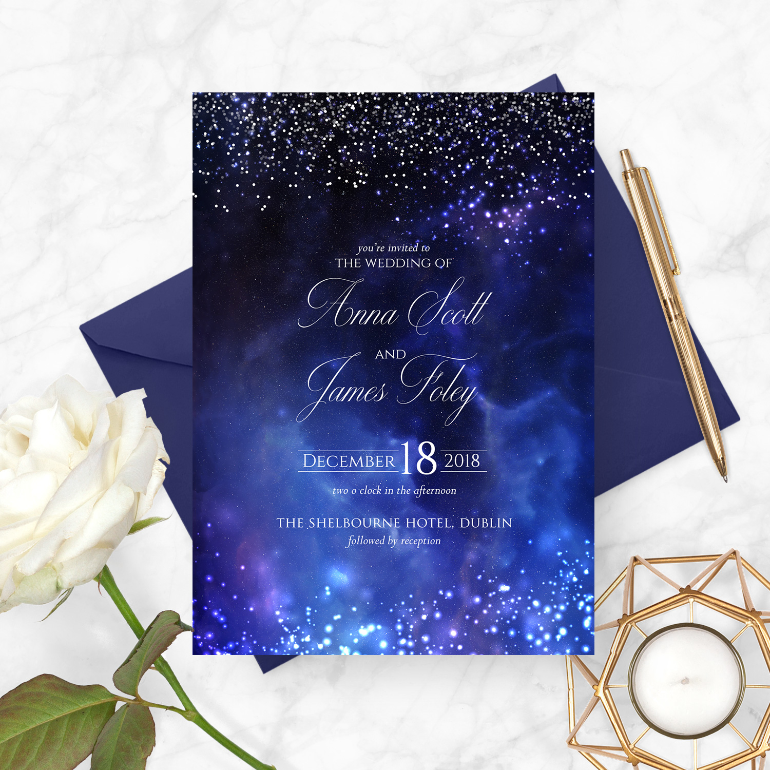 midnight sky starry night navy wedding invite stationery kerry