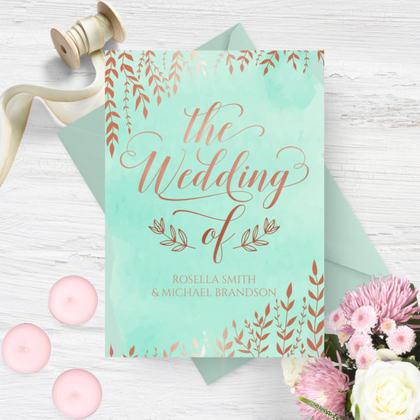 mint and gold watercolour wedding invite - stationery kerry