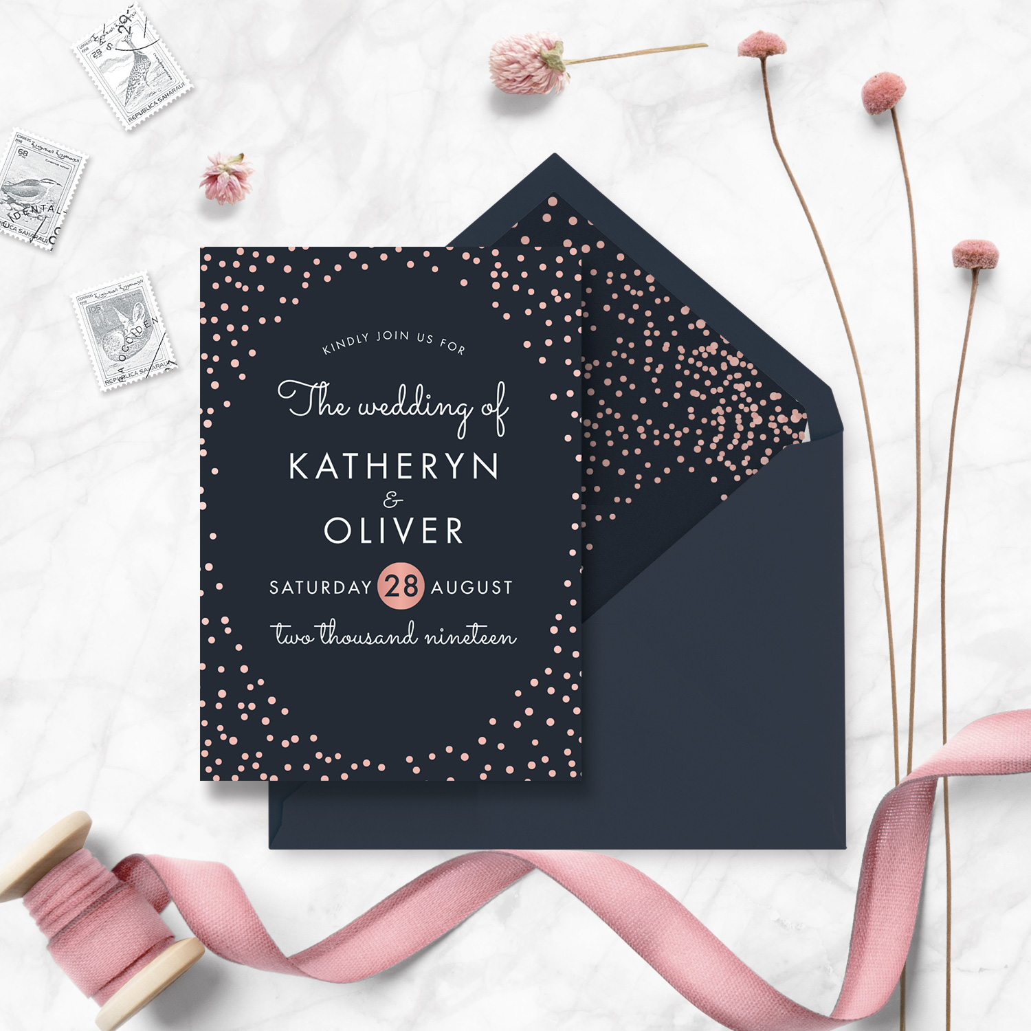 navy and rose gold confetti wedding invite stationery