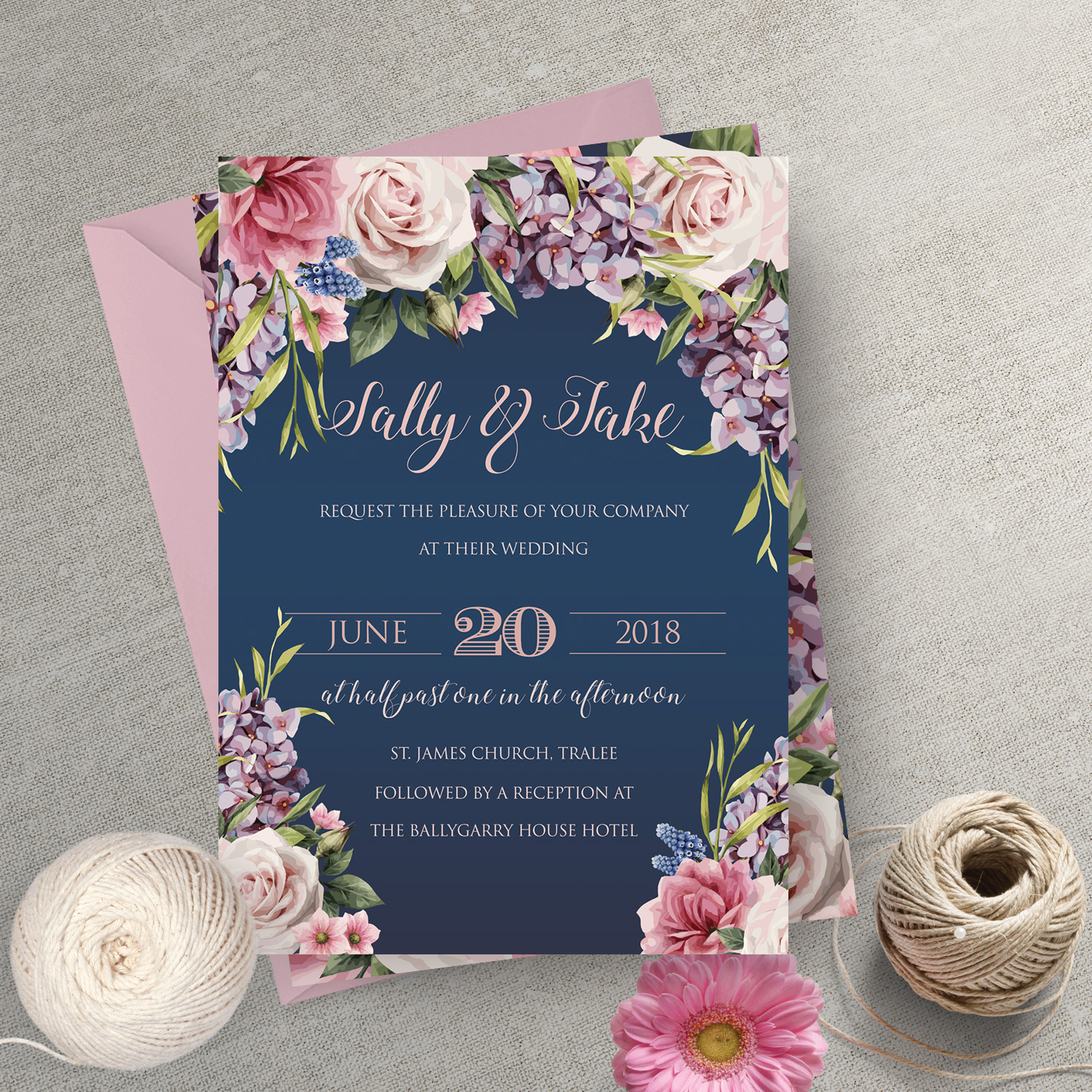 rustic boho navy floral wedding invitation