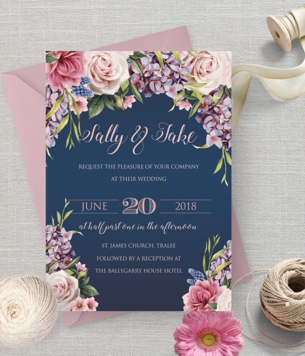 Navy Floral Wedding Invite with pink envelopes stationery kerry