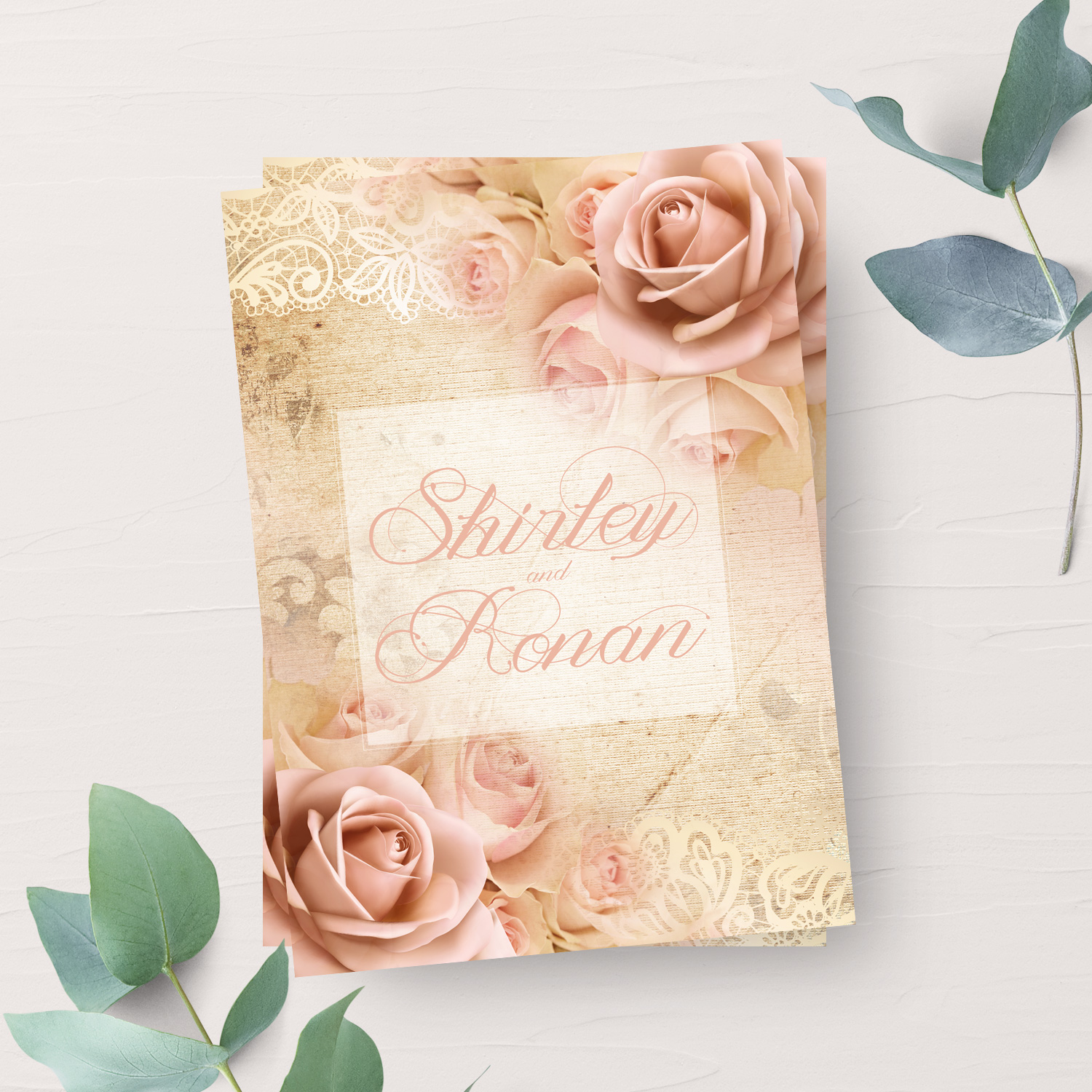 peach rose wedding invitation stationery killarney