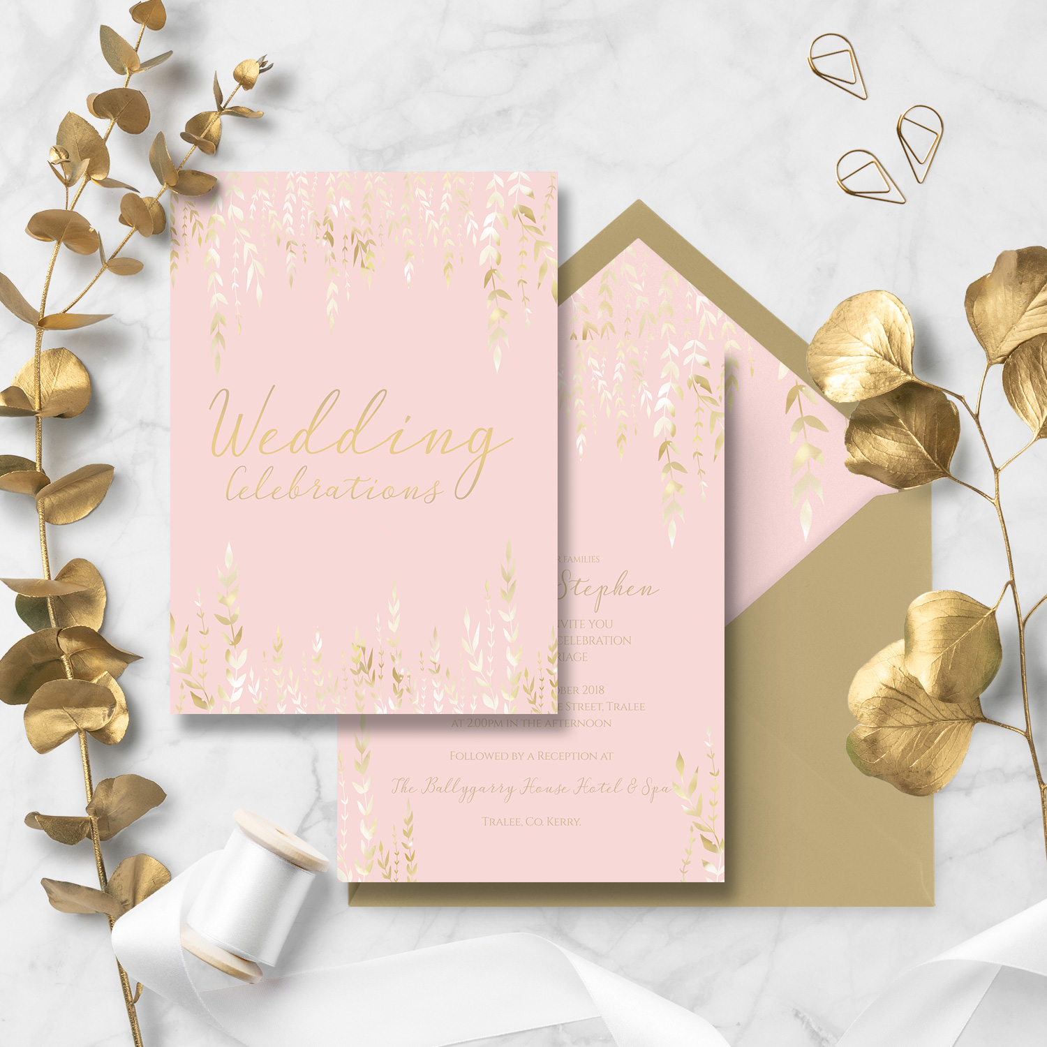 pastel pink peach petal wedding invite stationery killarney
