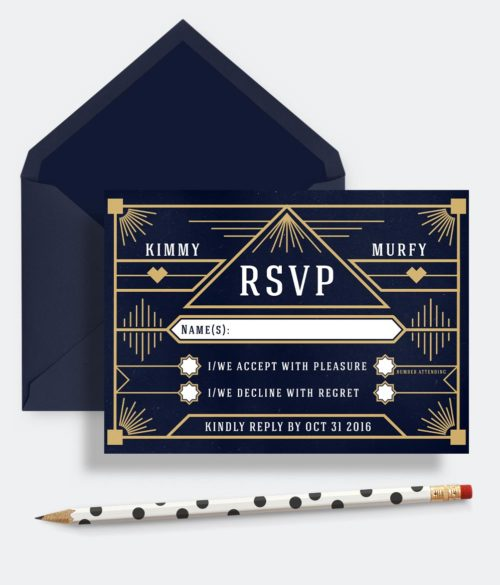 rsvp reply card great gatsby navy and gold geometrical RSVP cards