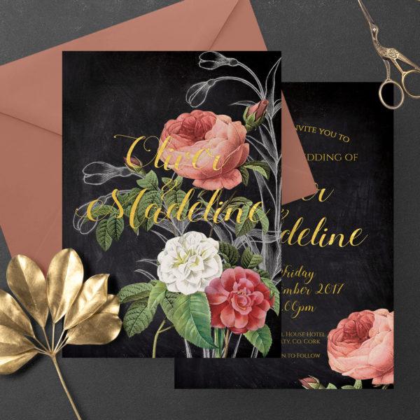 black pink romantic floral wedding invite stationery ireland
