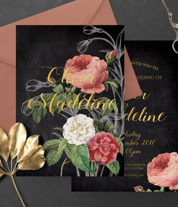 black pink romantic floral wedding invite stationery ireland