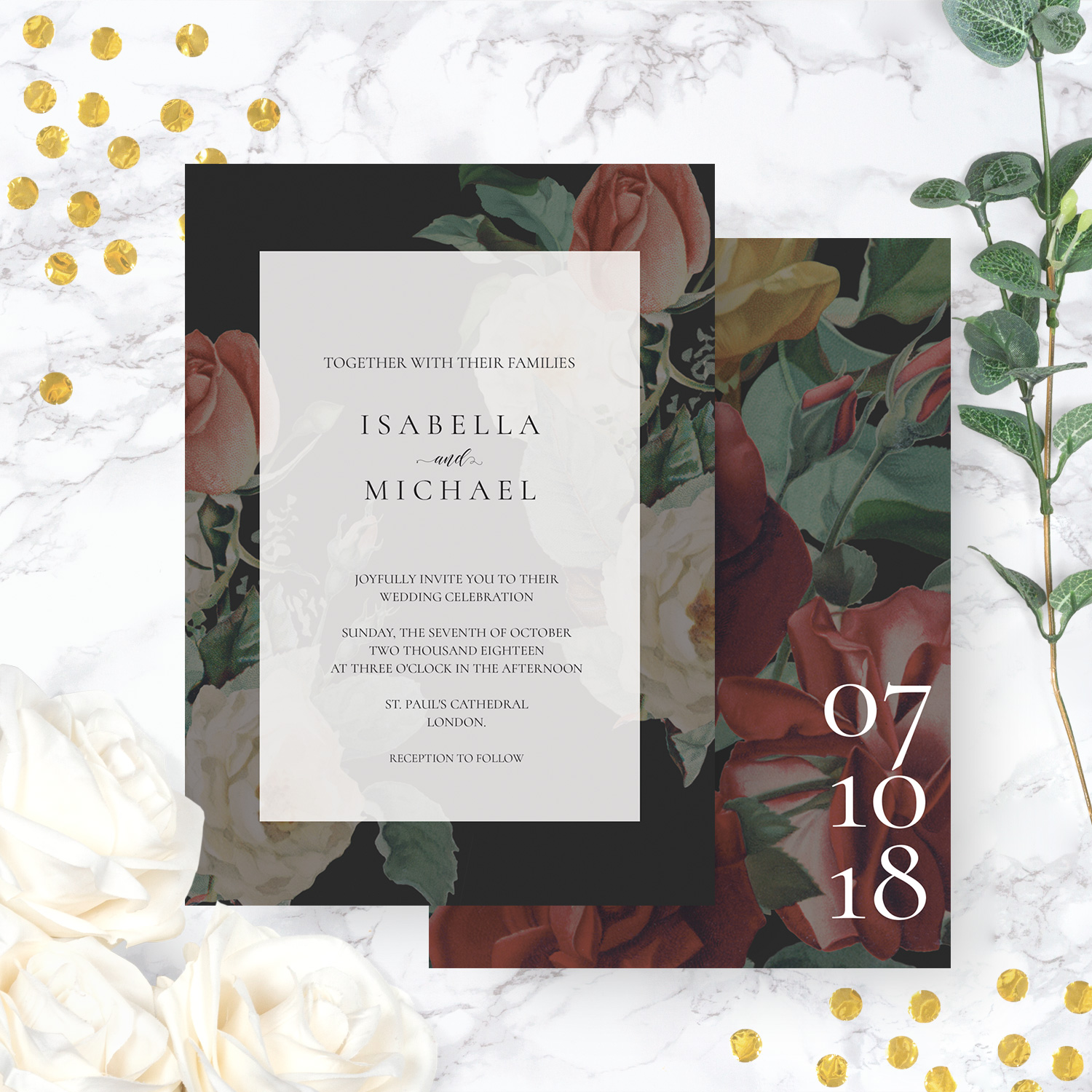 striking wedding invite - flowery wedding invitations killarney