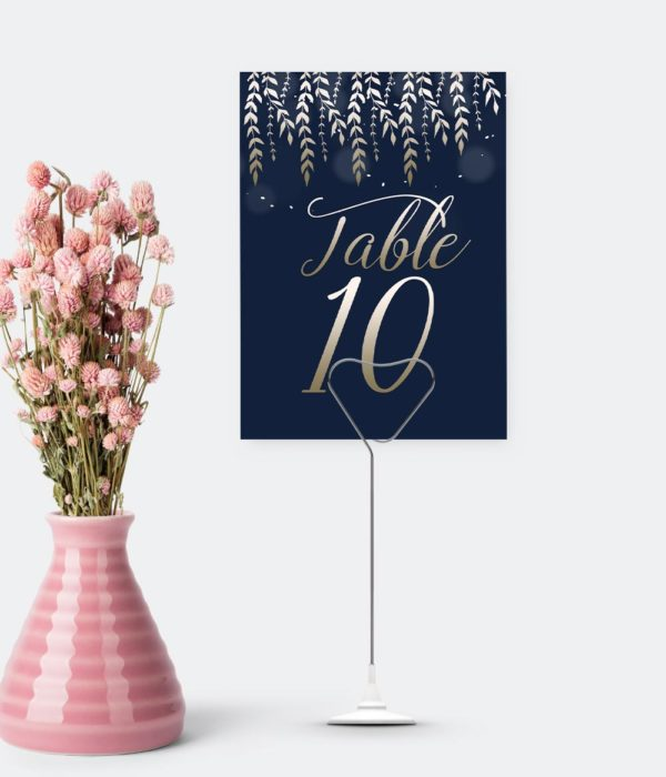 table number cards navy and gold table planners