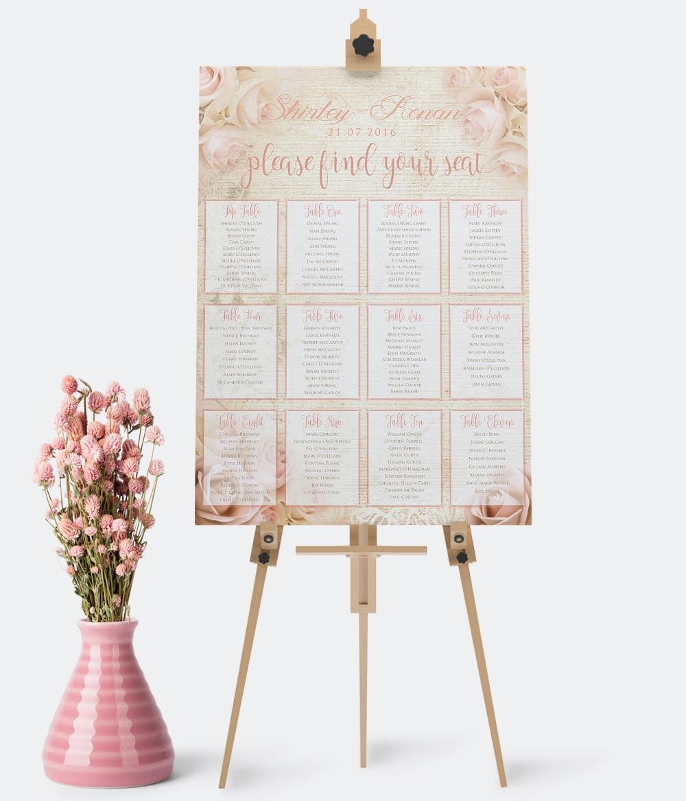 Wedding Table Plan Seating Plan Wedding Stationery