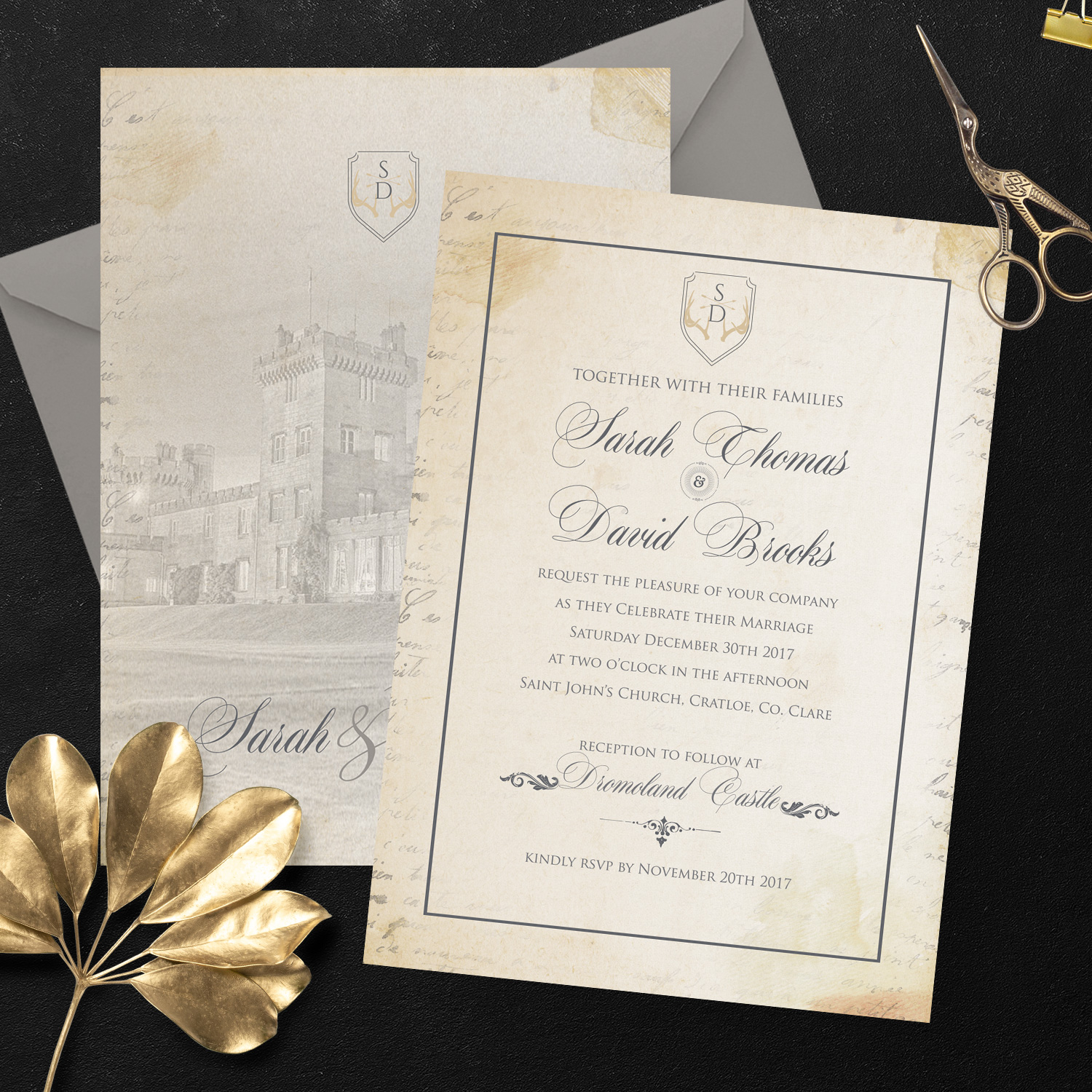 vintage background wedding invite - city picture wedding stationery