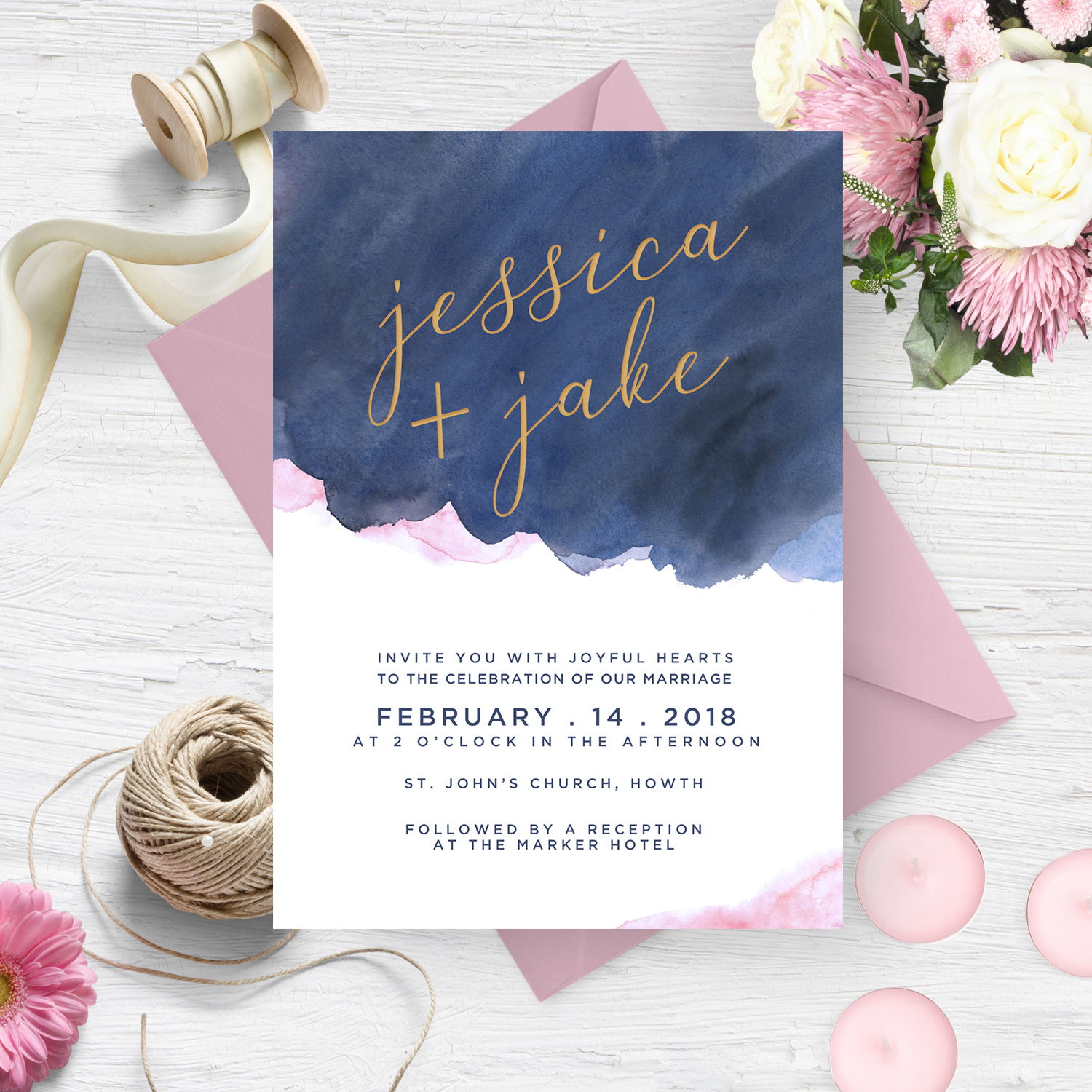 navy and pastel pink watercolour wedding invite stationery killarney