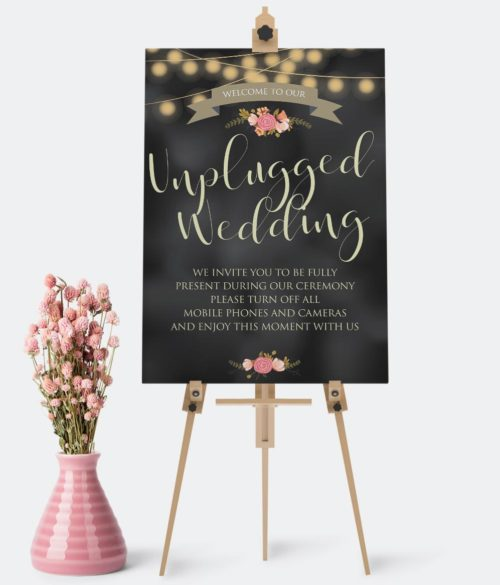 wedding signs unplugged wedding poster