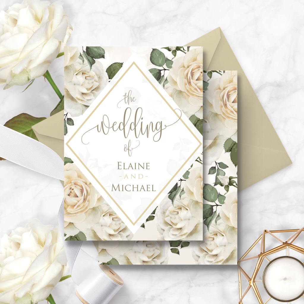 white roses wedding invite - flowery wedding invitations killarney