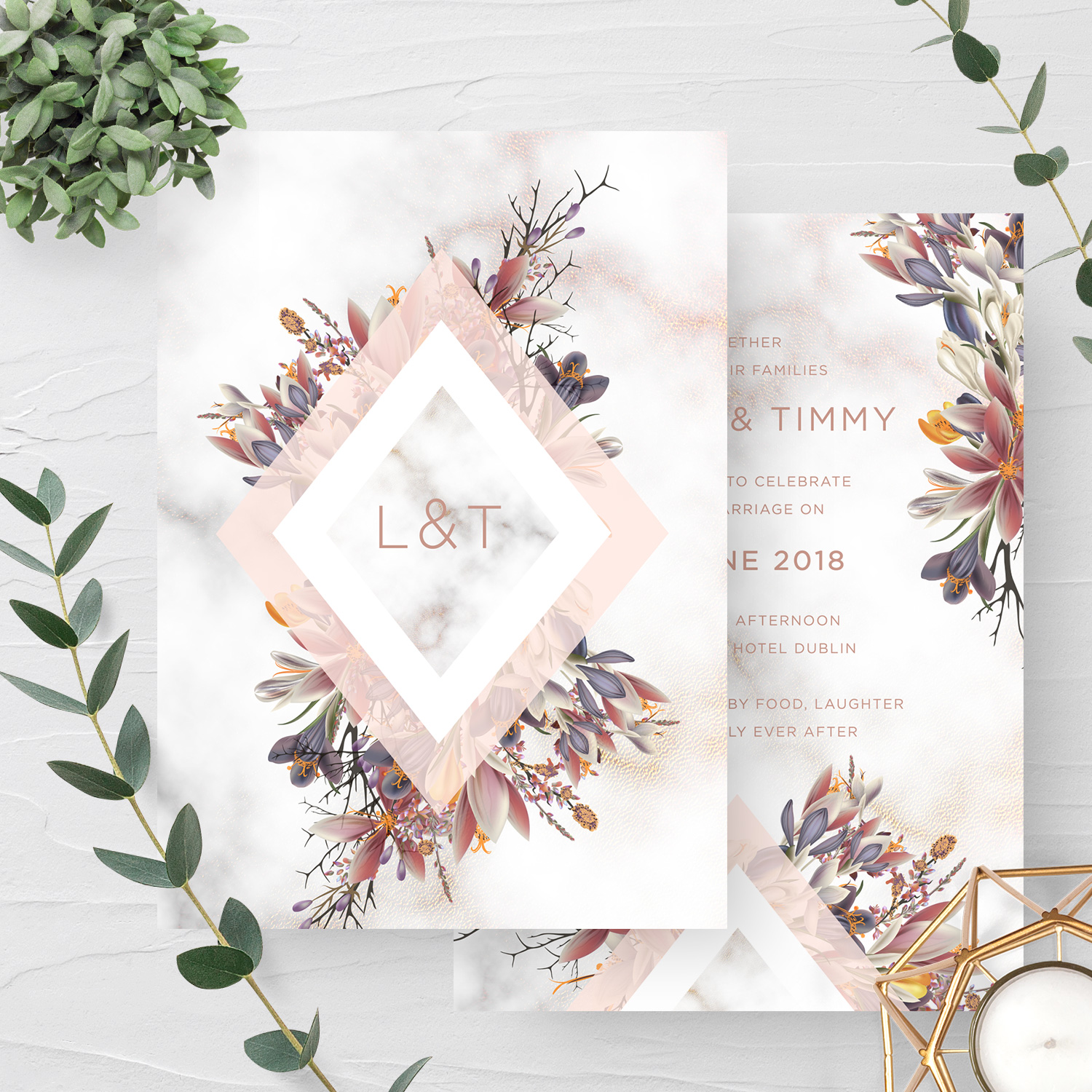 wild flower marble pastel pink wedding invite stationery invitations kerry