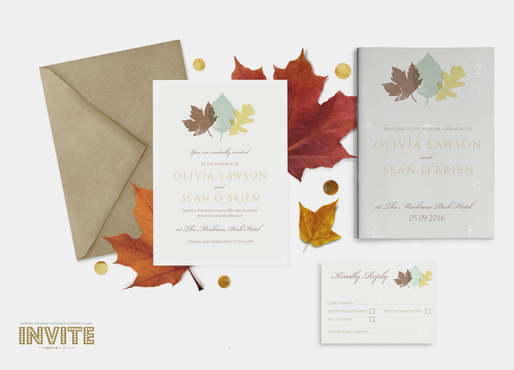 Autumn Leaves Wedding Invitations and stationery