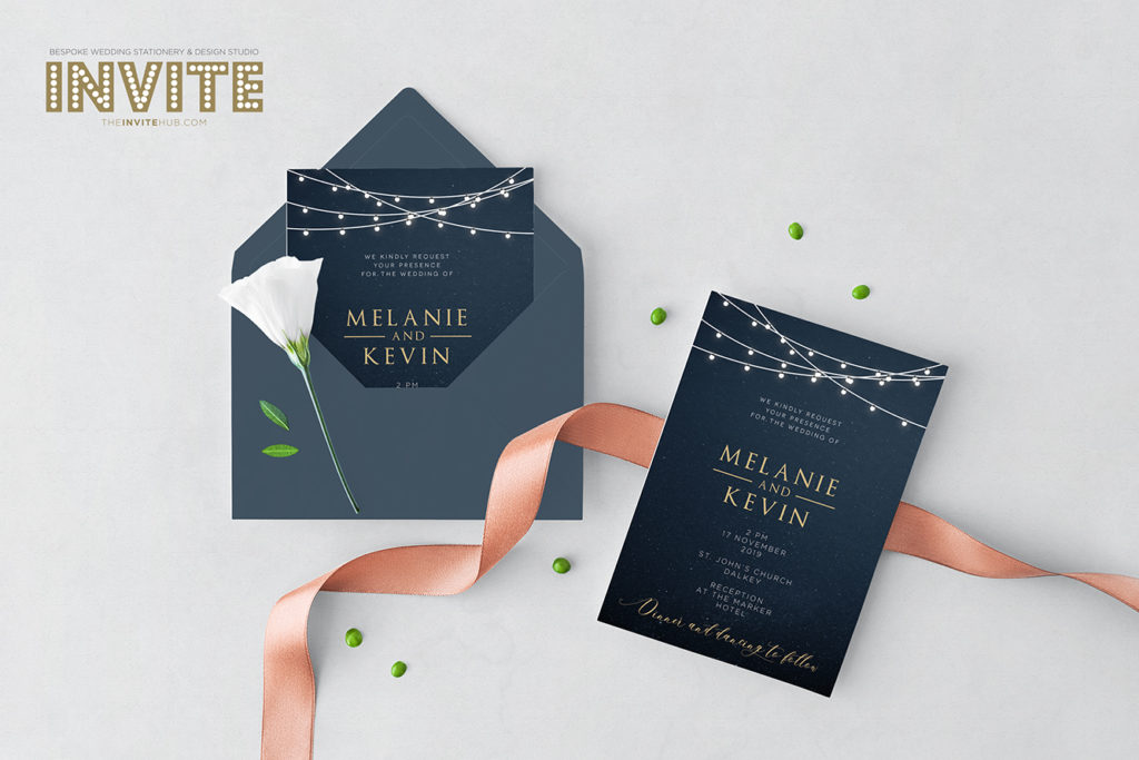black and gold classy wedding invites with navy envelopes