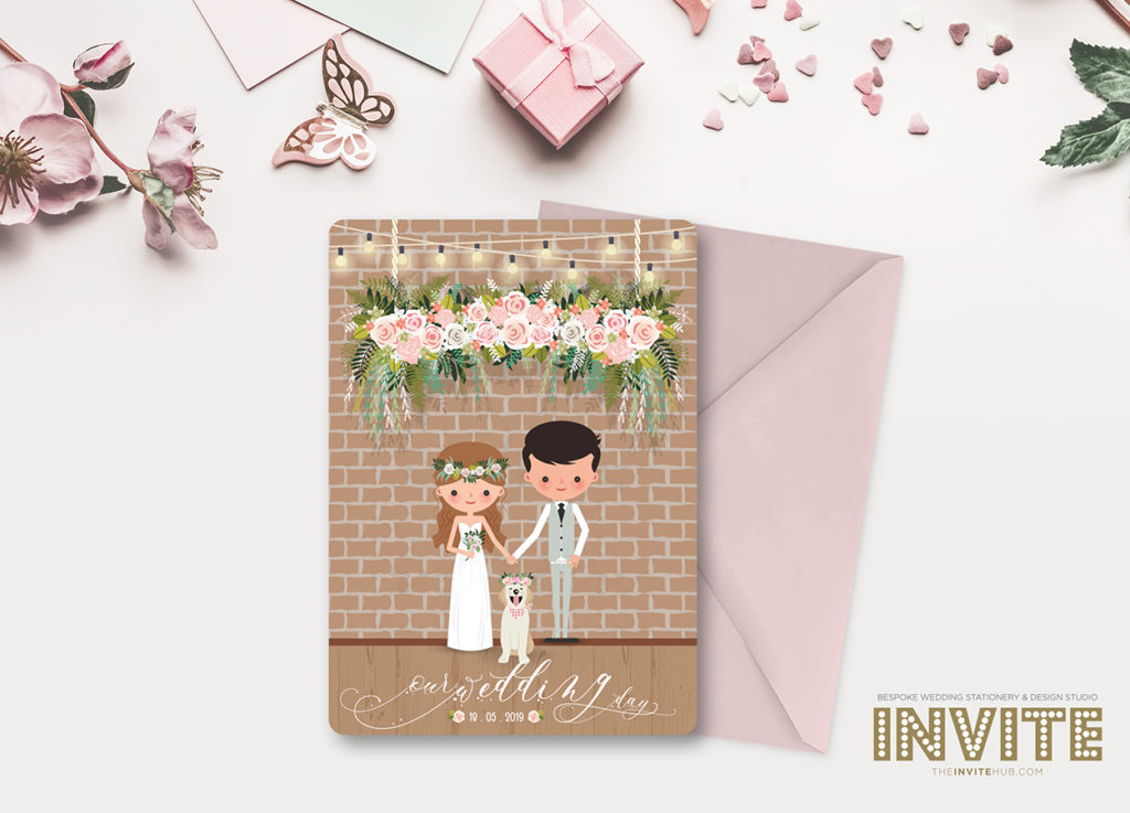 cartoon pink pastel wedding stationery