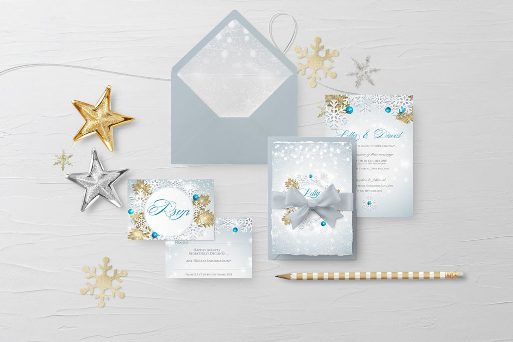 winter snow wonderland wedding invitations