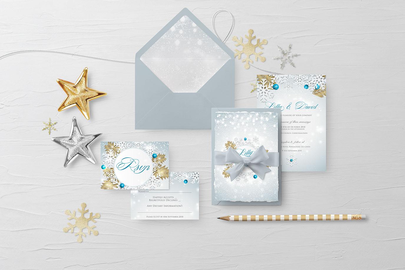 winter snow wonderland wedding invitations