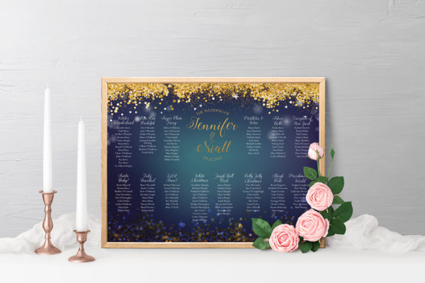 Wedding Table Planning - starry night gold and navy wedding invitations table planners