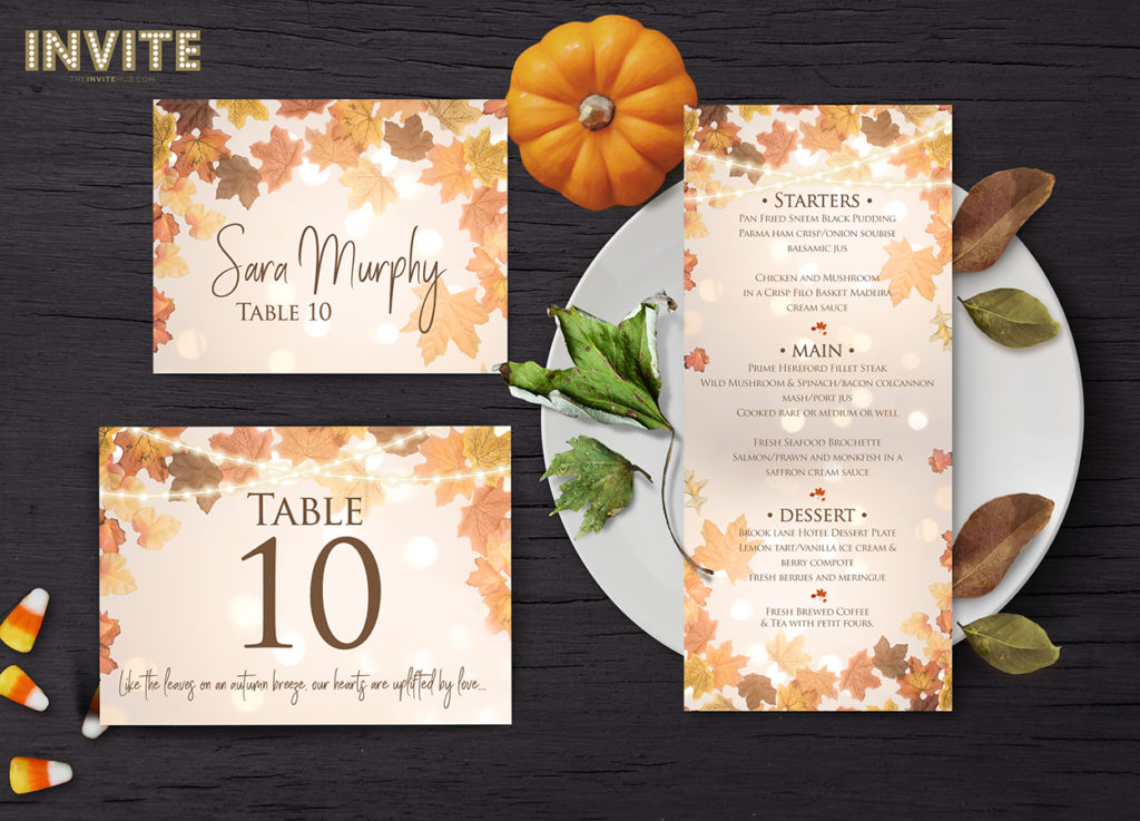 autumn halloween leaves wedding invitations and stationery