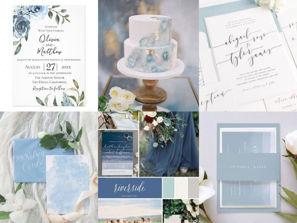 Dusty Blue Wedding Invitations Wedding Invitations Colour Palette 2019
