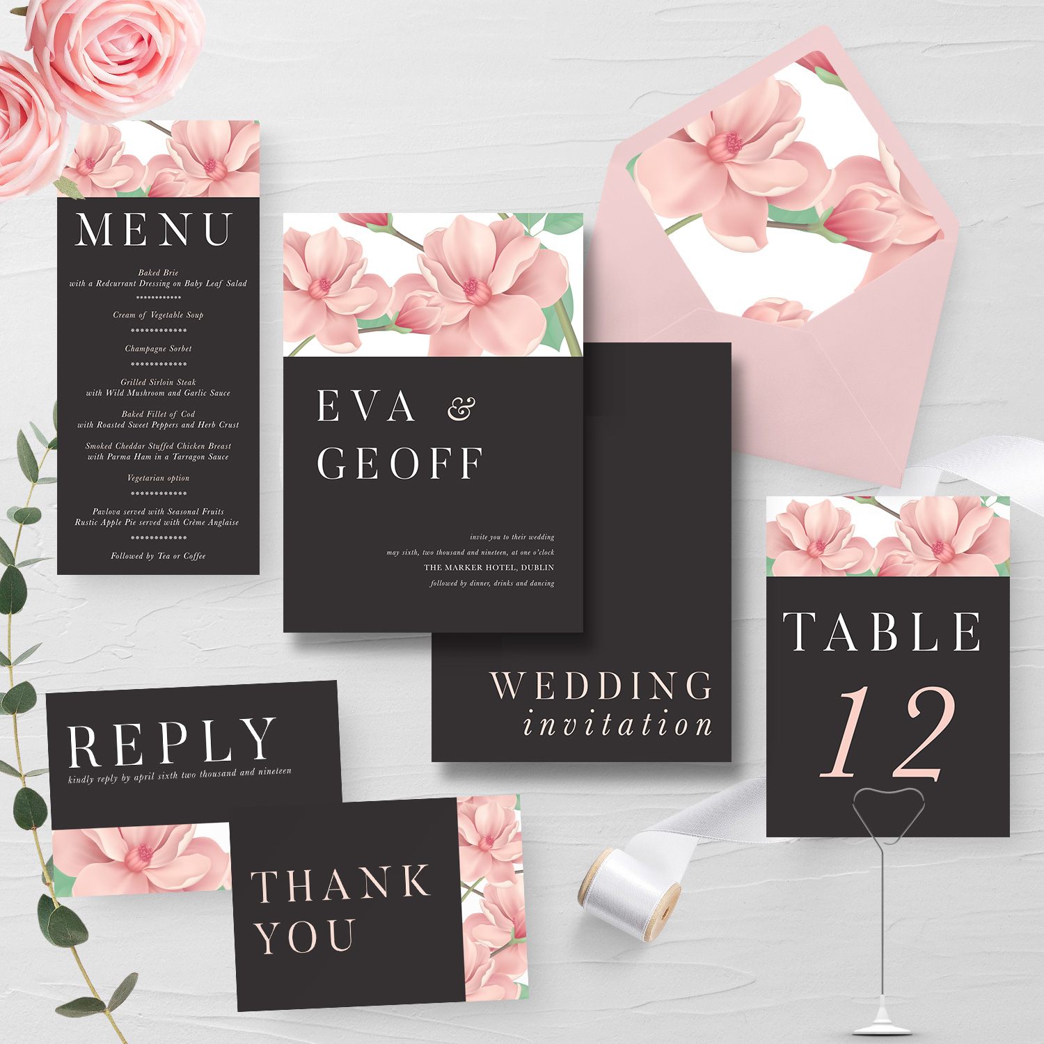 Blush Flower Wedding Stationery