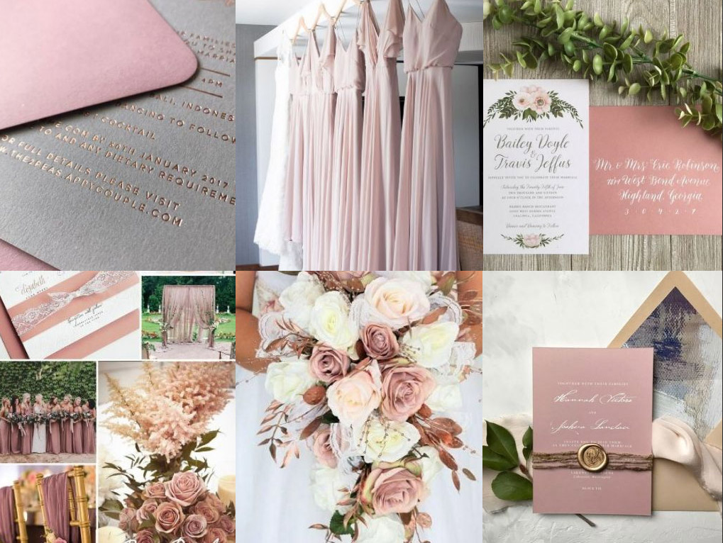 Dusty Rose Pink Wedding Invitations